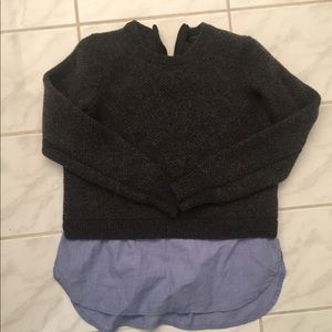 J Crew wool sweater with built in shirt tail